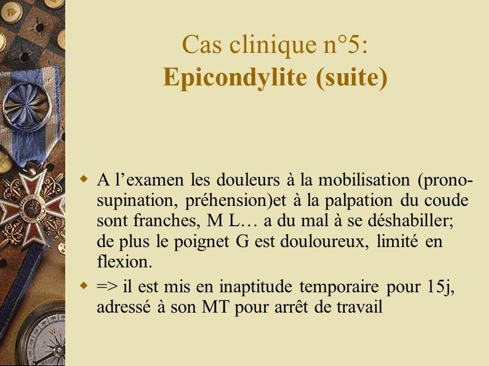 Cas clinique n°5: Epicondylite (suite) A lexamen les douleurs à la mobilisation (prono- supination, préhension)et à la palpation du coude sont franche