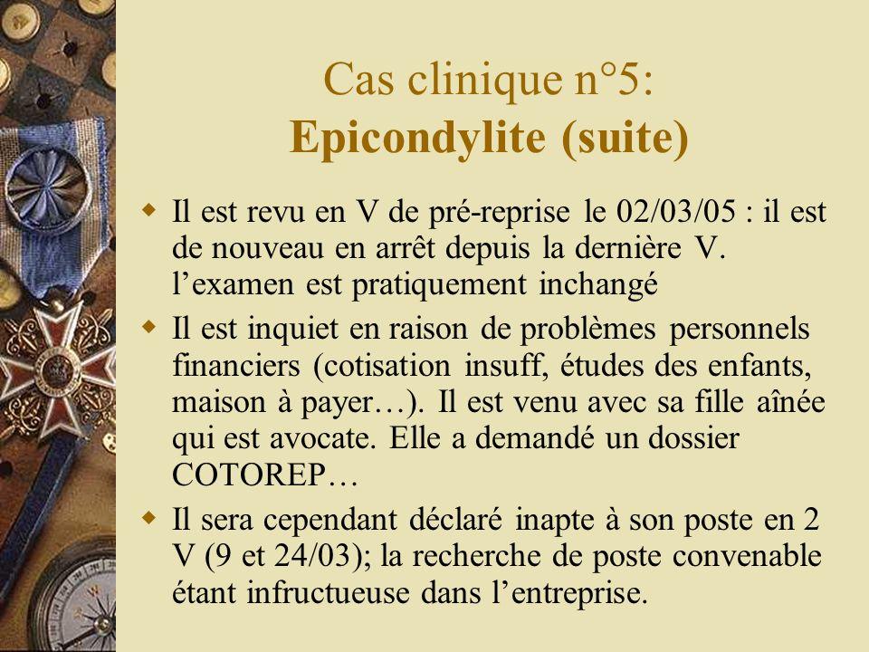 Cas clinique n°5: Epicondylite (suite) Il est revu en V de pré-reprise le 02/03/05 : il est de nouveau en arrêt depuis la dernière V. lexamen est prat