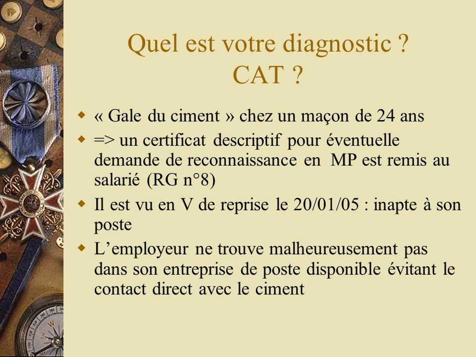 Quel est votre diagnostic ? CAT ? « Gale du ciment » chez un maçon de 24 ans => un certificat descriptif pour éventuelle demande de reconnaissance en