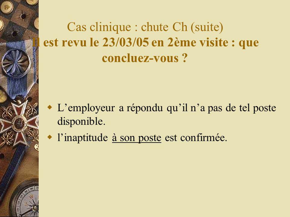 Cas clinique : chute Ch (suite) Il est revu le 23/03/05 en 2ème visite : que concluez-vous ? Lemployeur a répondu quil na pas de tel poste disponible.