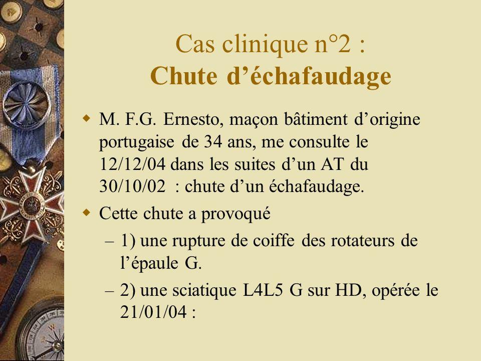 Cas clinique n°2 : Chute déchafaudage M. F.G. Ernesto, maçon bâtiment dorigine portugaise de 34 ans, me consulte le 12/12/04 dans les suites dun AT du