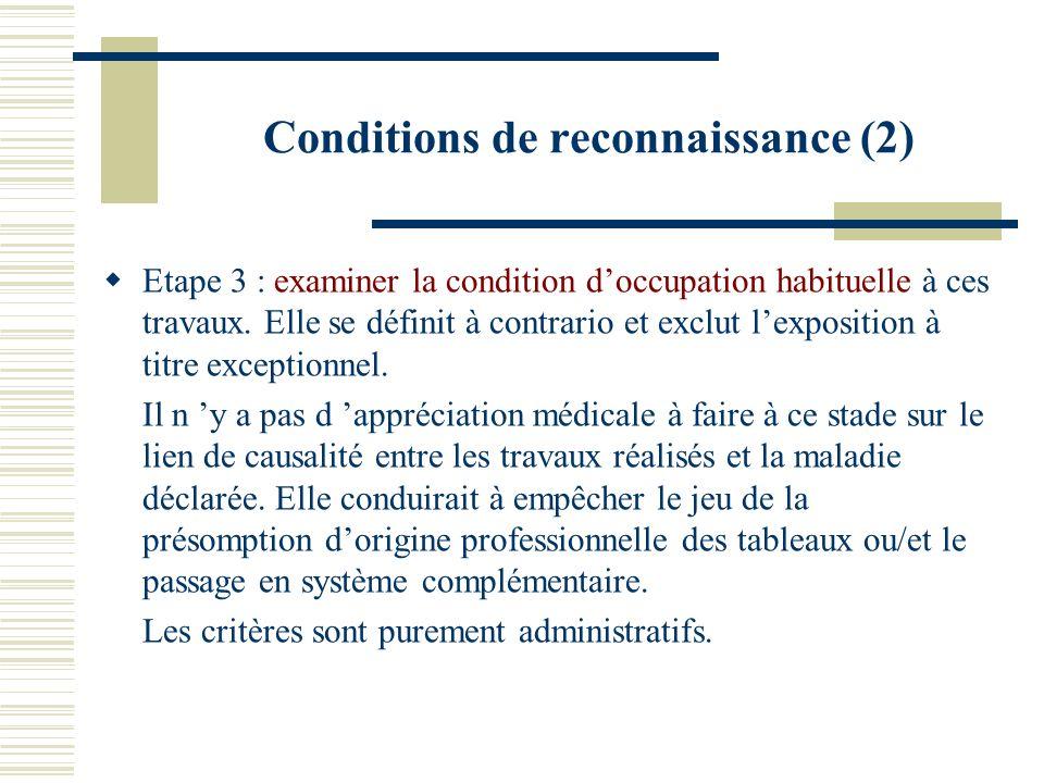 Conditions de reconnaissance (2) Etape 3 : examiner la condition doccupation habituelle à ces travaux. Elle se définit à contrario et exclut lexpositi