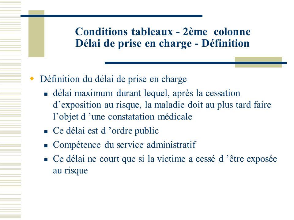 Conditions tableaux - 2ème colonne Délai de prise en charge - Définition Définition du délai de prise en charge délai maximum durant lequel, après la
