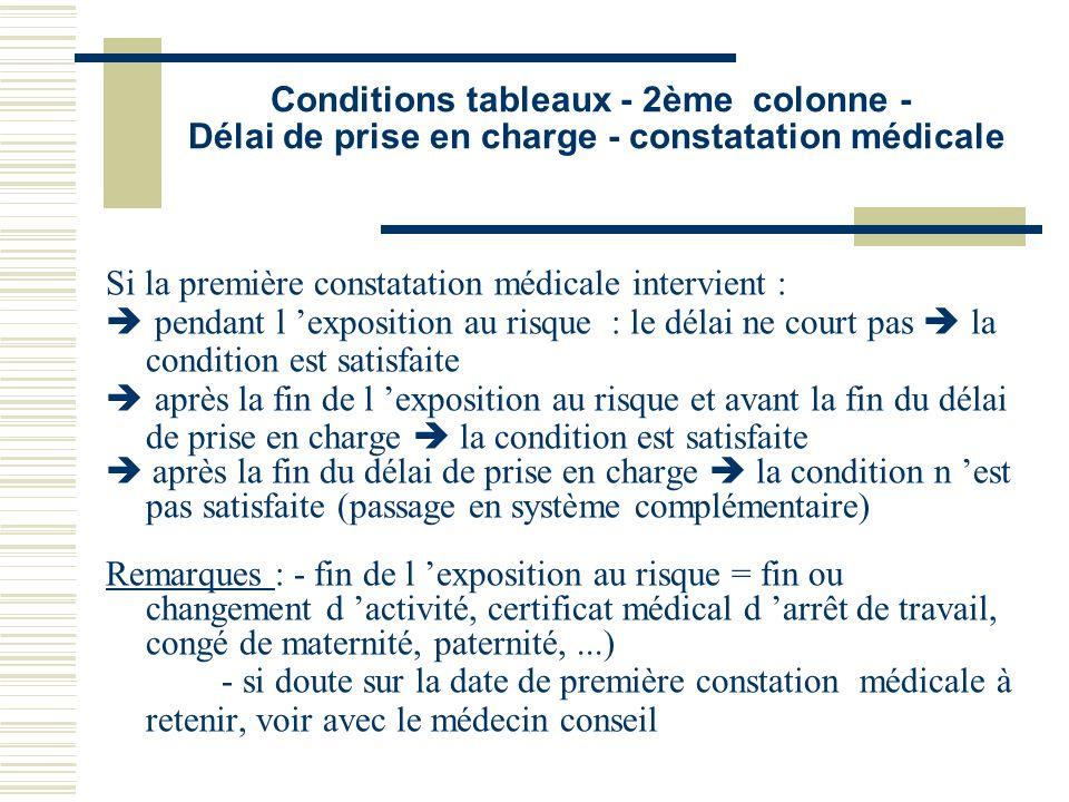 Conditions tableaux - 2ème colonne - Délai de prise en charge - constatation médicale Si la première constatation médicale intervient : è pendant l ex