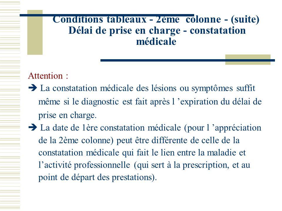 Conditions tableaux - 2ème colonne - (suite) Délai de prise en charge - constatation médicale Attention : La constatation médicale des lésions ou symp