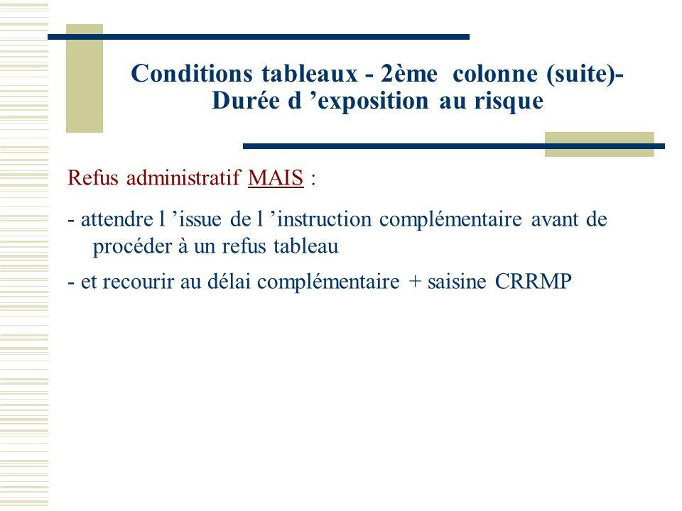 Conditions tableaux - 2ème colonne (suite)- Durée d exposition au risque Refus administratif MAIS : - attendre l issue de l instruction complémentaire