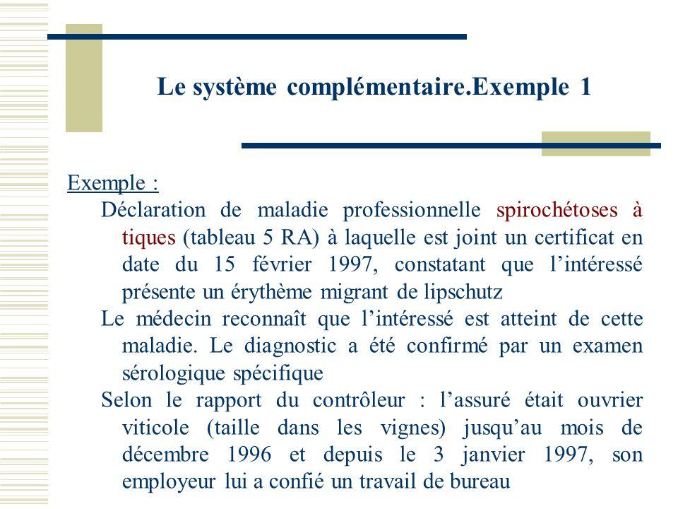 Le système complémentaire.Exemple 1 Exemple : Déclaration de maladie professionnelle spirochétoses à tiques (tableau 5 RA) à laquelle est joint un cer