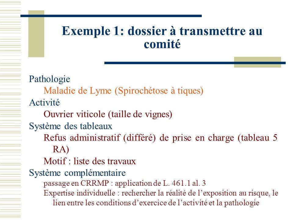 Exemple 1: dossier à transmettre au comité Pathologie Maladie de Lyme (Spirochétose à tiques) Activité Ouvrier viticole (taille de vignes) Système des