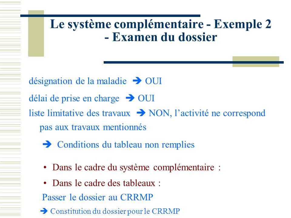 Le système complémentaire - Exemple 2 - Examen du dossier désignation de la maladie OUI délai de prise en charge OUI liste limitative des travaux NON,