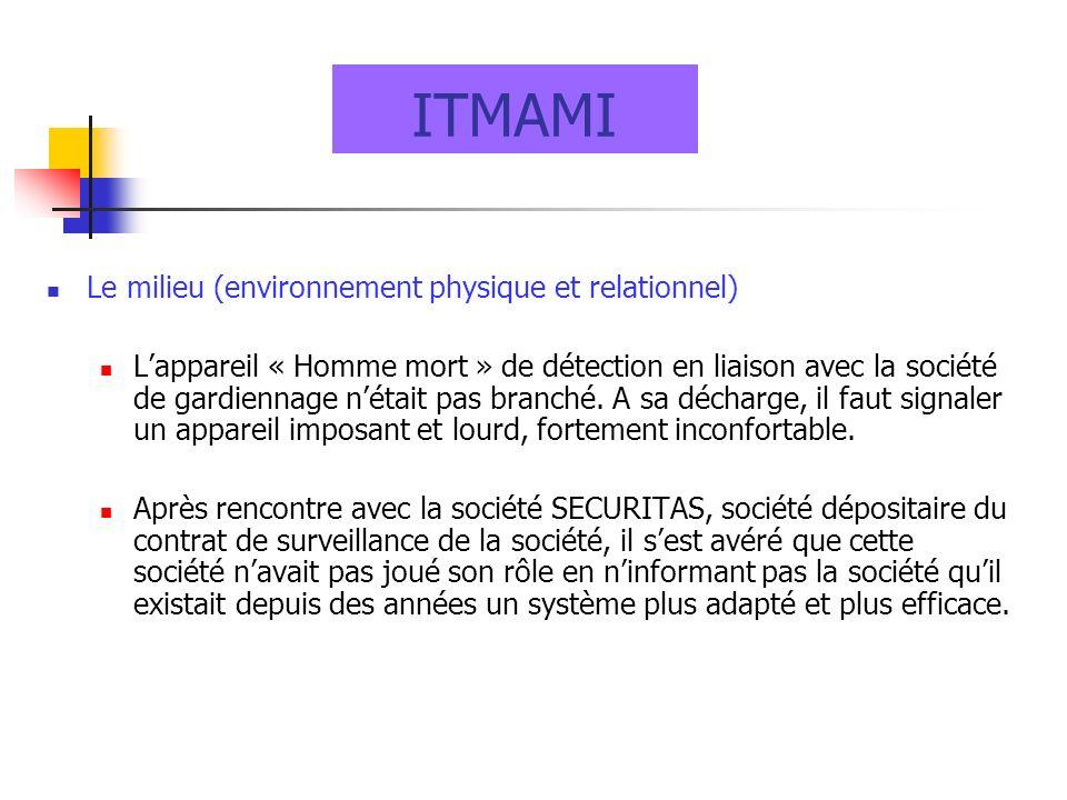 ITMAMI Le milieu (environnement physique et relationnel) Lappareil « Homme mort » de détection en liaison avec la société de gardiennage nétait pas br