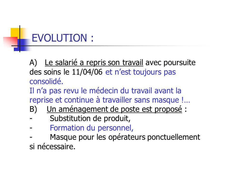 EVOLUTION : A) Le salarié a repris son travail avec poursuite des soins le 11/04/06 et nest toujours pas consolidé. Il na pas revu le médecin du trava