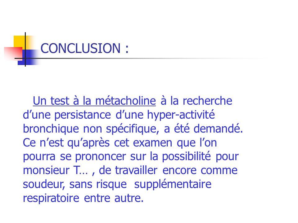CONCLUSION : Un test à la métacholine à la recherche dune persistance dune hyper-activité bronchique non spécifique, a été demandé. Ce nest quaprès ce