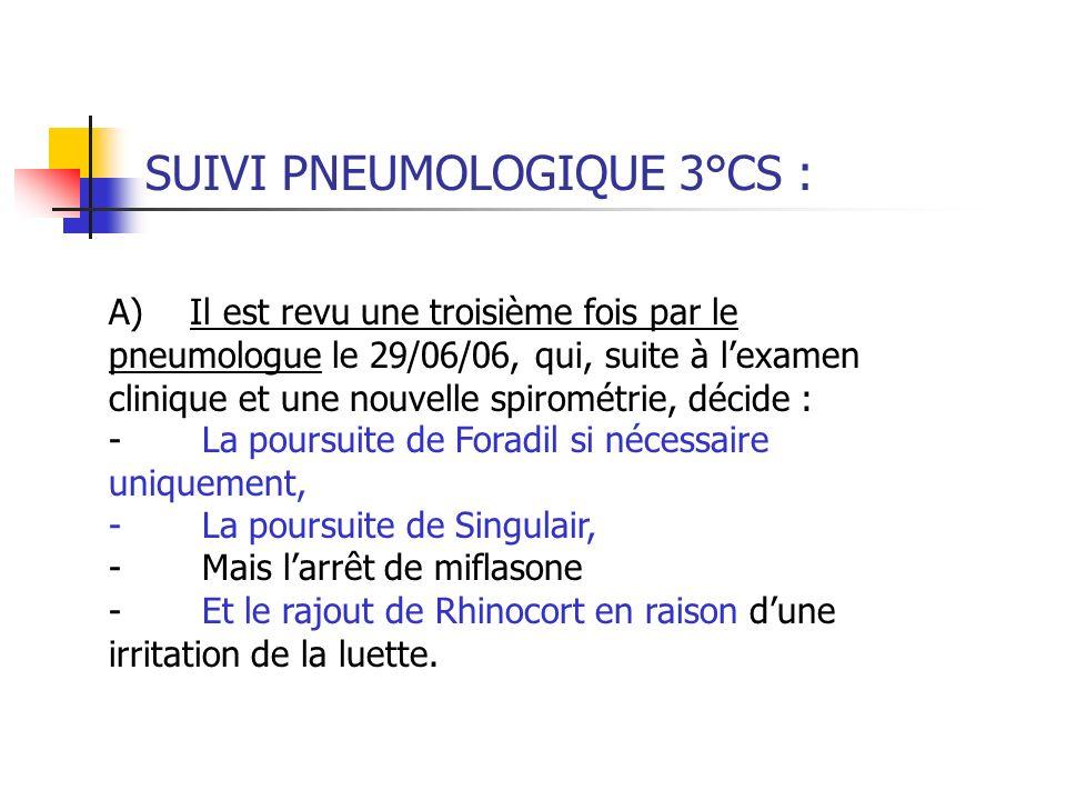 SUIVI PNEUMOLOGIQUE 3°CS : A) Il est revu une troisième fois par le pneumologue le 29/06/06, qui, suite à lexamen clinique et une nouvelle spirométrie