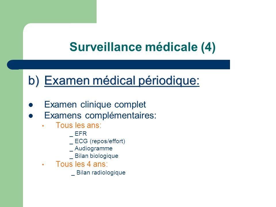 Surveillance médicale (4) b)Examen médical périodique b)Examen médical périodique: Examen clinique complet Examens complémentaires: Tous les ans: _ EF