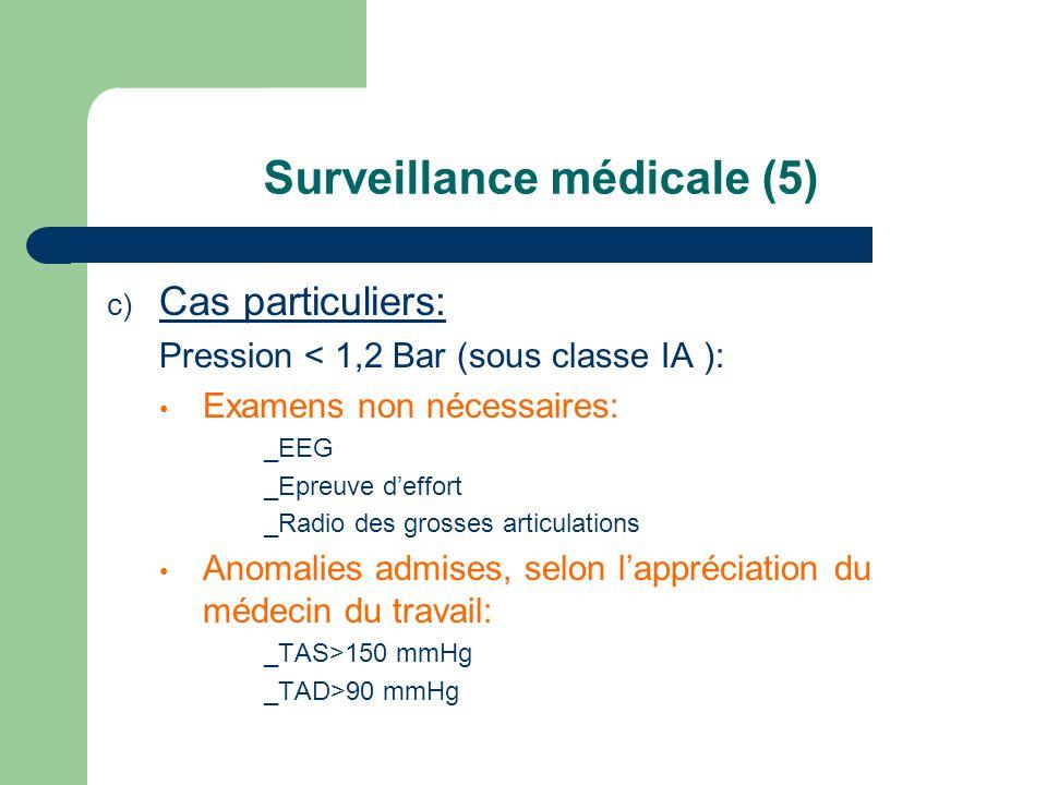 Surveillance médicale (5) c) Cas particuliers: Pression < 1,2 Bar (sous classe IA ): Examens non nécessaires: _EEG _Epreuve deffort _Radio des grosses