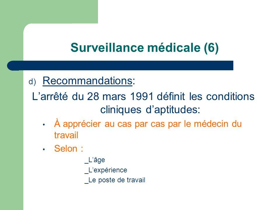 Surveillance médicale (6) d) Recommandations: Larrêté du 28 mars 1991 définit les conditions cliniques daptitudes: À apprécier au cas par cas par le m