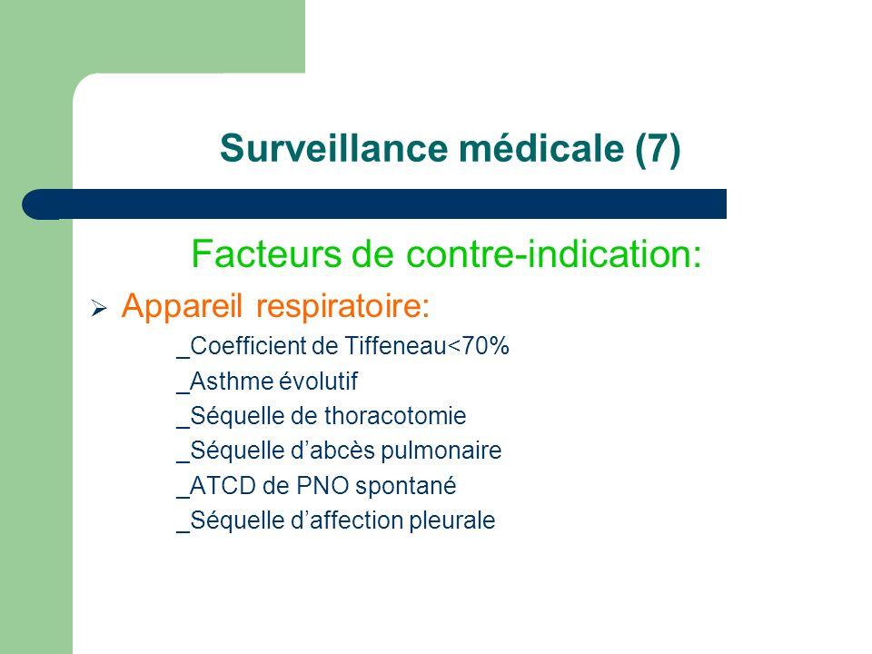 Surveillance médicale (7) Facteurs de contre-indication: Appareil respiratoire: _Coefficient de Tiffeneau<70% _Asthme évolutif _Séquelle de thoracotom