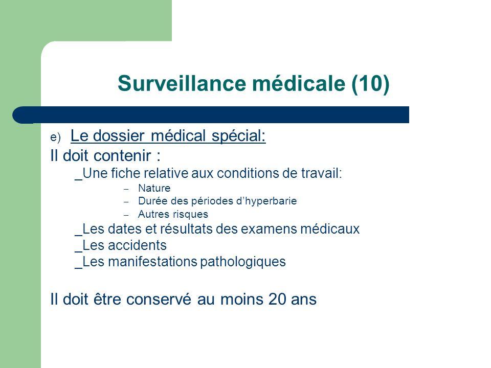 Surveillance médicale (10) e) Le dossier médical spécial: Il doit contenir : _Une fiche relative aux conditions de travail: – Nature – Durée des pério