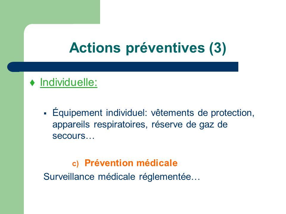 Actions préventives (3) Individuelle: Équipement individuel: vêtements de protection, appareils respiratoires, réserve de gaz de secours… c) Préventio