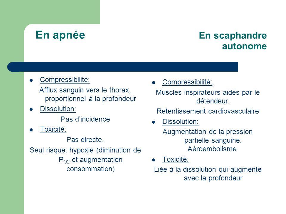 En apnée En scaphandre autonome Compressibilité: Afflux sanguin vers le thorax, proportionnel à la profondeur Dissolution: Pas dincidence Toxicité: Pa