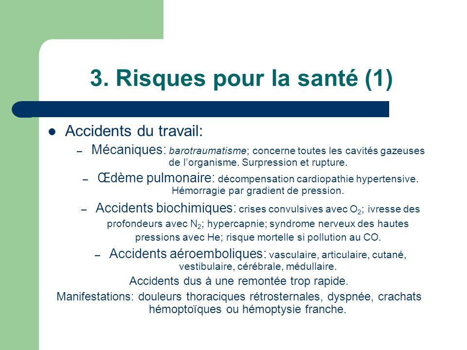 3. Risques pour la santé (1) Accidents du travail: – Mécaniques: barotraumatisme; concerne toutes les cavités gazeuses de lorganisme. Surpression et r
