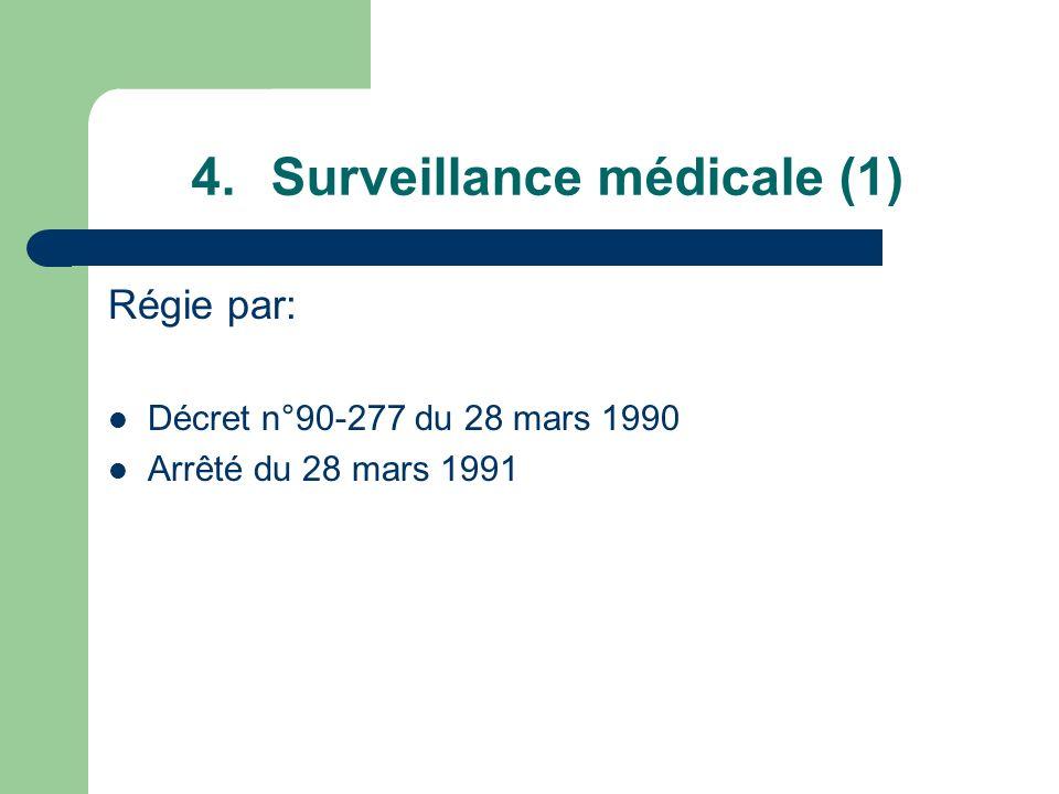 4.Surveillance médicale (1) Régie par: Décret n°90-277 du 28 mars 1990 Arrêté du 28 mars 1991