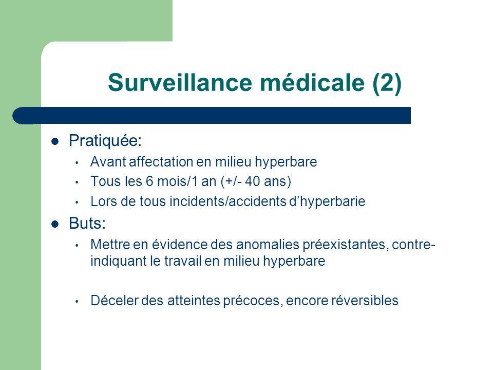 Surveillance médicale (2) Pratiquée: Avant affectation en milieu hyperbare Tous les 6 mois/1 an (+/- 40 ans) Lors de tous incidents/accidents dhyperba