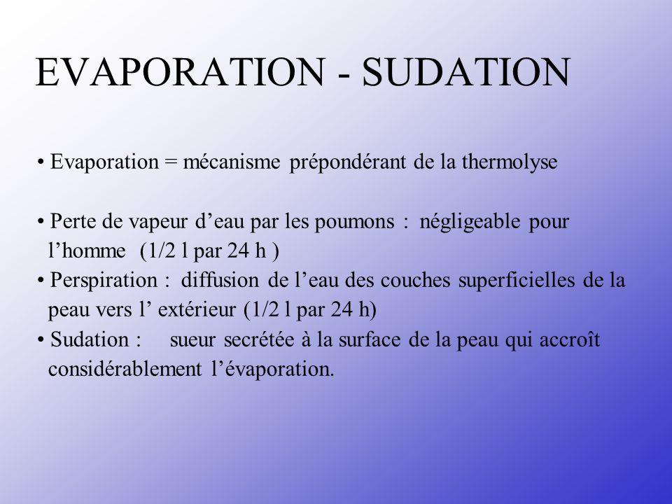 EVAPORATION - SUDATION Evaporation = mécanisme prépondérant de la thermolyse Perte de vapeur deau par les poumons : négligeable pour lhomme (1/2 l par