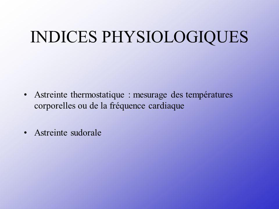 INDICES PHYSIOLOGIQUES Astreinte thermostatique : mesurage des températures corporelles ou de la fréquence cardiaque Astreinte sudorale