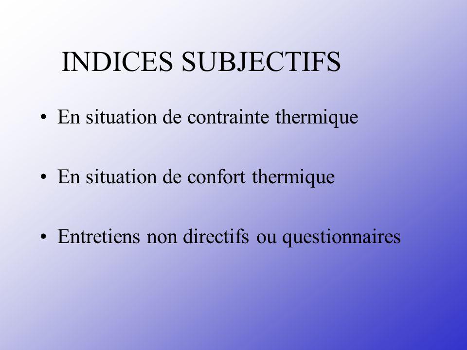 INDICES SUBJECTIFS En situation de contrainte thermique En situation de confort thermique Entretiens non directifs ou questionnaires