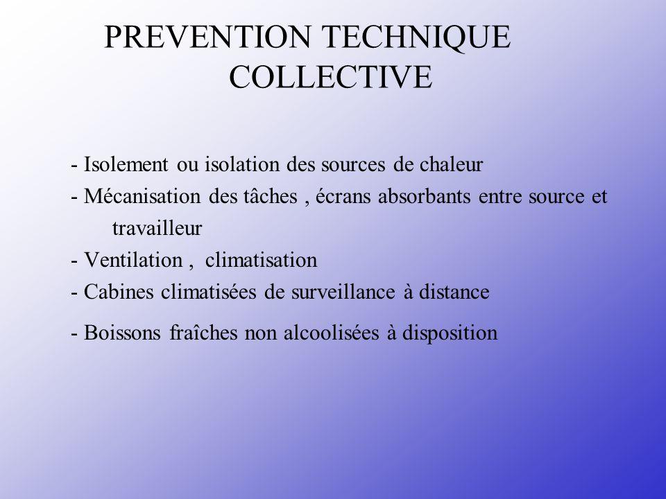 PREVENTION TECHNIQUE COLLECTIVE - Isolement ou isolation des sources de chaleur - Mécanisation des tâches, écrans absorbants entre source et travaille