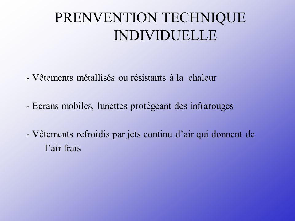 PRENVENTION TECHNIQUE INDIVIDUELLE - Vêtements métallisés ou résistants à la chaleur - Ecrans mobiles, lunettes protégeant des infrarouges - Vêtements