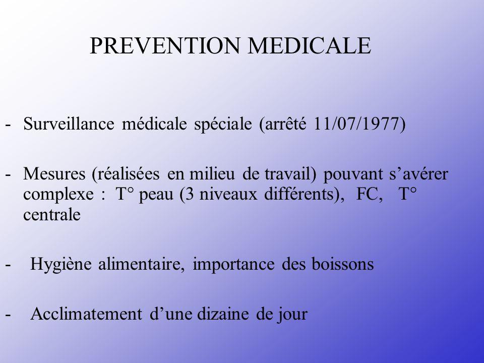 PREVENTION MEDICALE -Surveillance médicale spéciale (arrêté 11/07/1977) -Mesures (réalisées en milieu de travail) pouvant savérer complexe : T° peau (