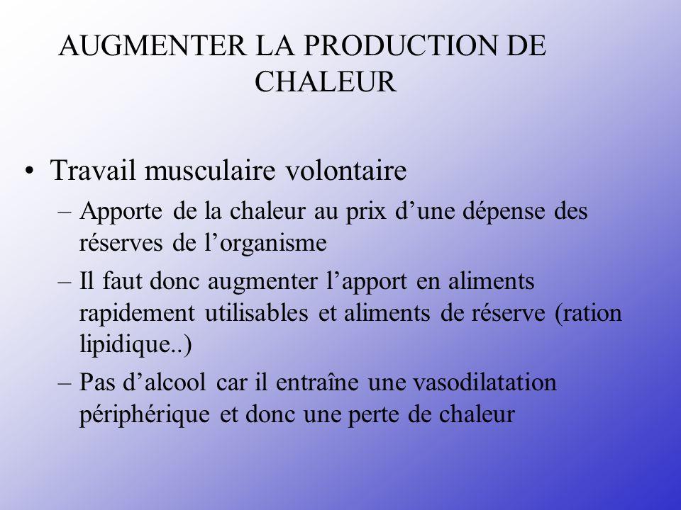 AUGMENTER LA PRODUCTION DE CHALEUR Travail musculaire volontaire –Apporte de la chaleur au prix dune dépense des réserves de lorganisme –Il faut donc