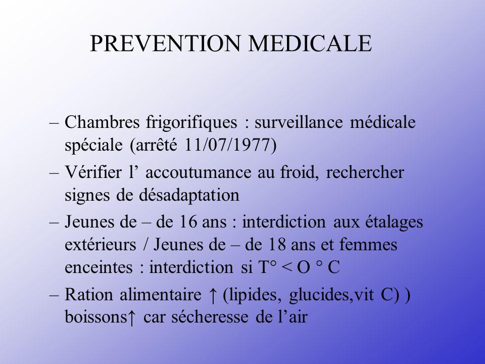 PREVENTION MEDICALE –Chambres frigorifiques : surveillance médicale spéciale (arrêté 11/07/1977) –Vérifier l accoutumance au froid, rechercher signes