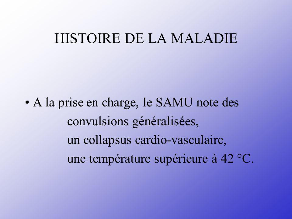 HISTOIRE DE LA MALADIE A la prise en charge, le SAMU note des convulsions généralisées, un collapsus cardio-vasculaire, une température supérieure à 4