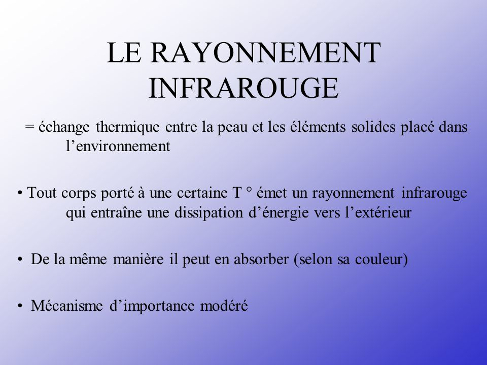 APPLICATION Nature des vêtements : - T° ambiante < T ° corps vêtement séchauffe par absorption du rayonnement émis protection contre le refroidissement - Réfléchir le rayonnement émis par les sources de chaleur protège le corps contre un échauffement excessif (couleur blanche, vêtements aluminisés )