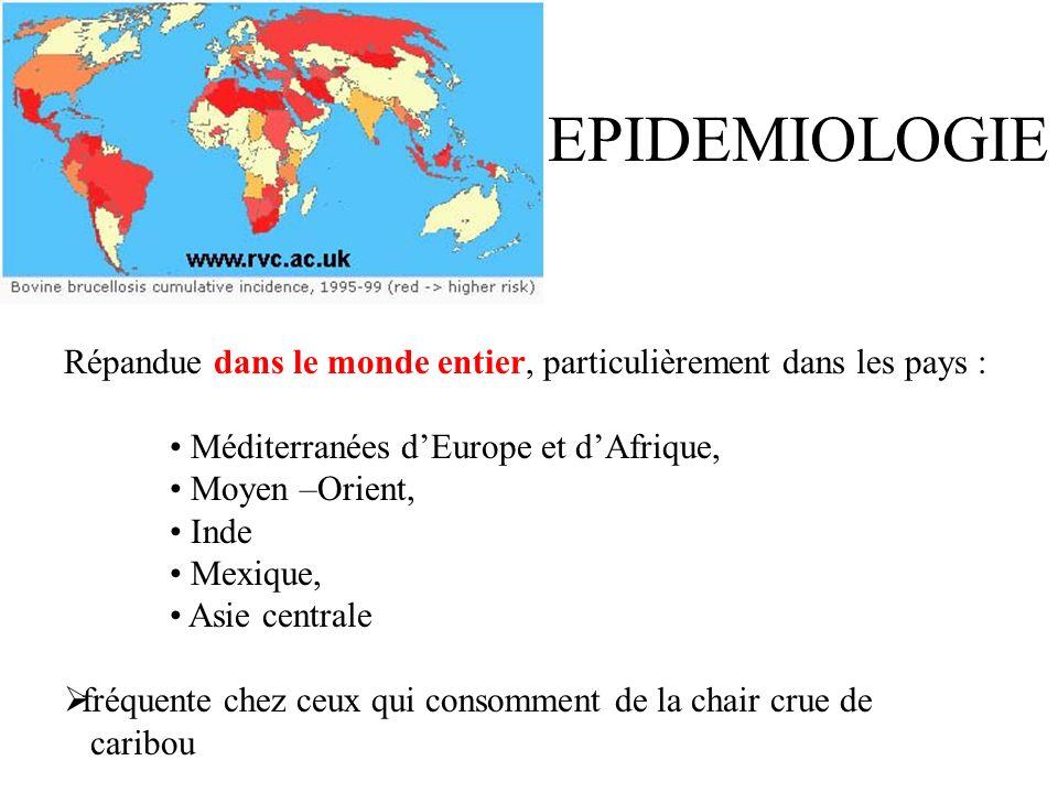 EPIDEMIOLOGIE Répandue dans le monde entier, particulièrement dans les pays : Méditerranées dEurope et dAfrique, Moyen –Orient, Inde Mexique, Asie centrale fréquente chez ceux qui consomment de la chair crue de caribou