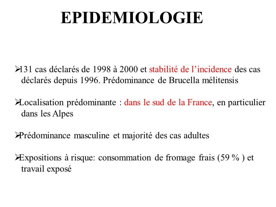 EPIDEMIOLOGIE 131 cas déclarés de 1998 à 2000 et stabilité de lincidence des cas déclarés depuis 1996.