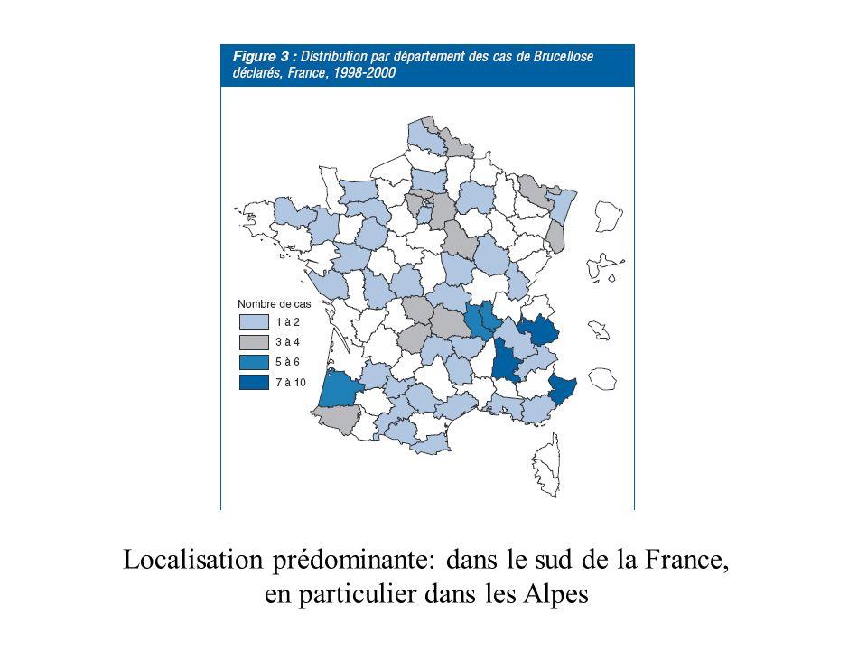 Localisation prédominante: dans le sud de la France, en particulier dans les Alpes