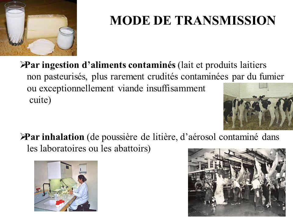 MODE DE TRANSMISSION Par ingestion daliments contaminés (lait et produits laitiers non pasteurisés, plus rarement crudités contaminées par du fumier ou exceptionnellement viande insuffisamment cuite) Par inhalation (de poussière de litière, daérosol contaminé dans les laboratoires ou les abattoirs)