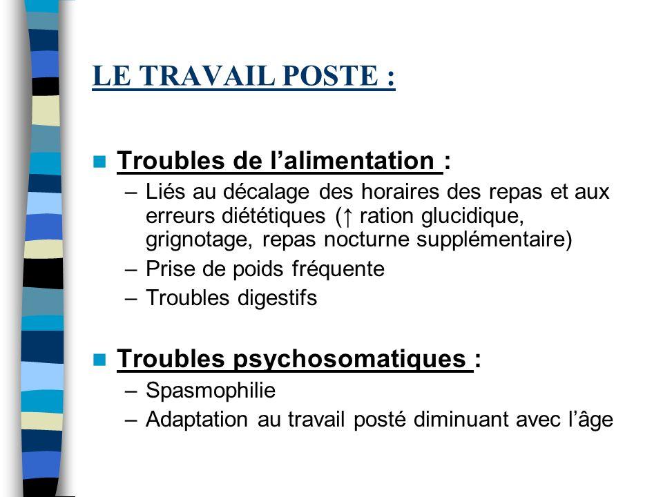 LE TRAVAIL POSTE : Troubles de lalimentation : –Liés au décalage des horaires des repas et aux erreurs diététiques ( ration glucidique, grignotage, re