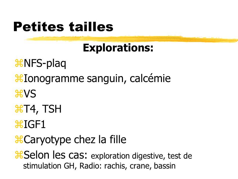 Petites tailles Explorations: zNFS-plaq zIonogramme sanguin, calcémie zVS zT4, TSH zIGF1 zCaryotype chez la fille zSelon les cas: exploration digestive, test de stimulation GH, Radio: rachis, crane, bassin