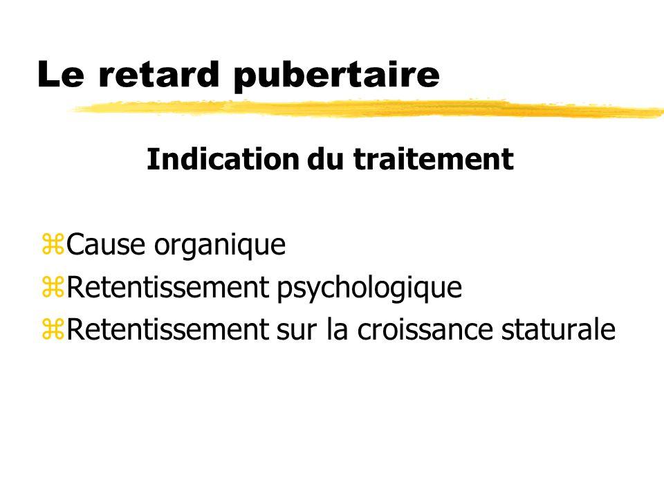 Le retard pubertaire Indication du traitement zCause organique zRetentissement psychologique zRetentissement sur la croissance staturale