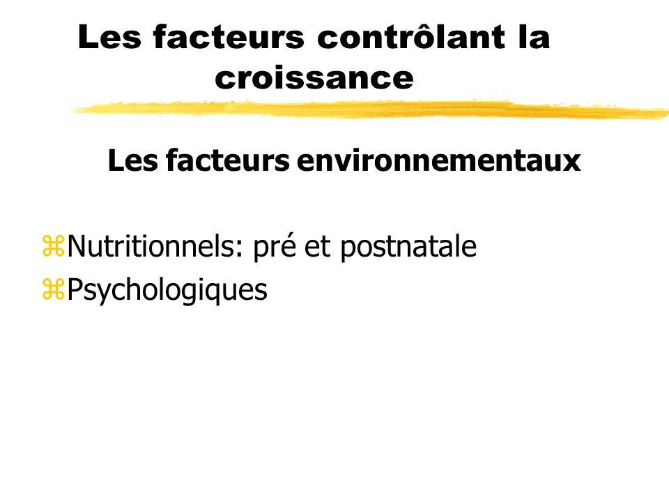 Les facteurs contrôlant la croissance Les facteurs environnementaux zNutritionnels: pré et postnatale zPsychologiques