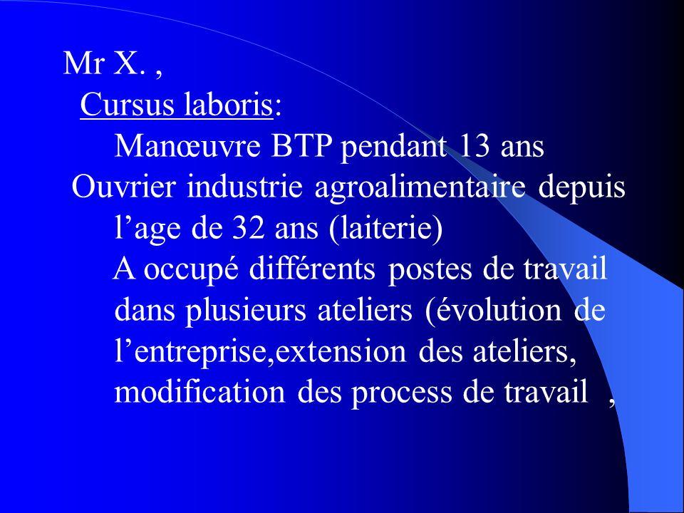 Mr X., Cursus laboris: Manœuvre BTP pendant 13 ans Ouvrier industrie agroalimentaire depuis lage de 32 ans (laiterie) A occupé différents postes de travail dans plusieurs ateliers (évolution de lentreprise,extension des ateliers, modification des process de travail,
