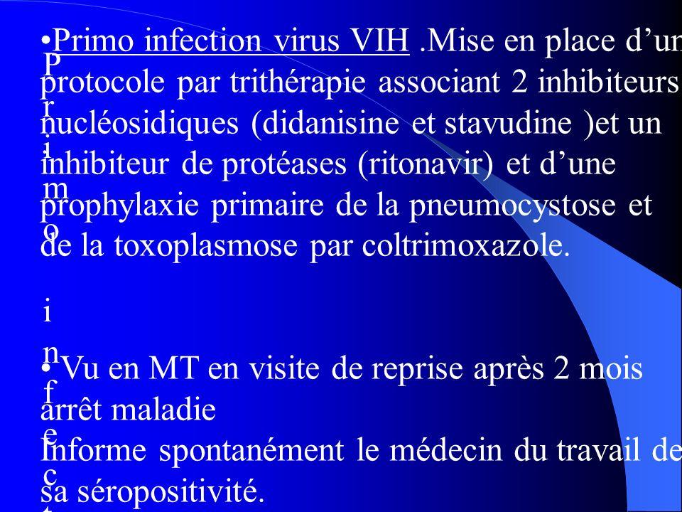 Primo infection virus VIPrimo infection virus VI Primo infection virus VIH.Mise en place dun protocole par trithérapie associant 2 inhibiteurs nucléosidiques (didanisine et stavudine )et un inhibiteur de protéases (ritonavir) et dune prophylaxie primaire de la pneumocystose et de la toxoplasmose par coltrimoxazole.