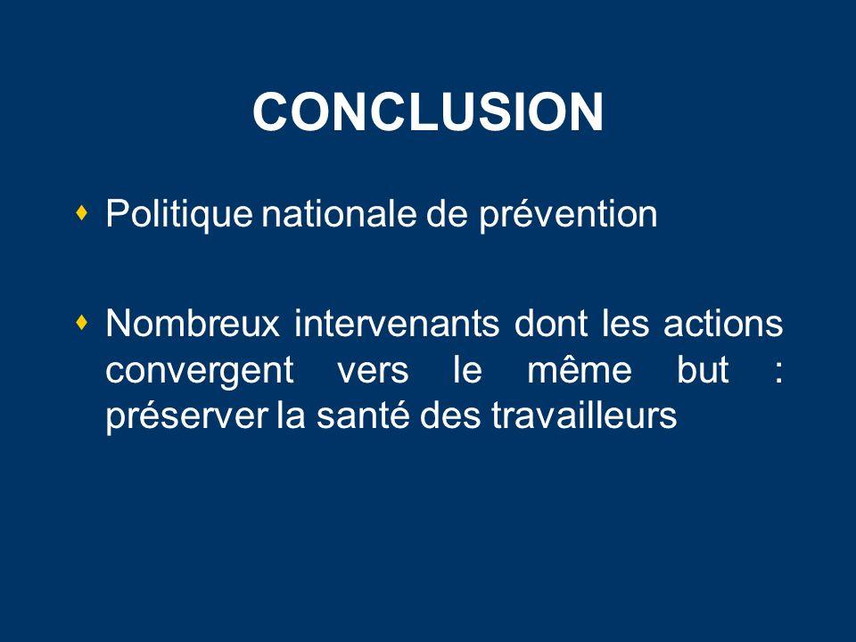 CONCLUSION Politique nationale de prévention Nombreux intervenants dont les actions convergent vers le même but : préserver la santé des travailleurs