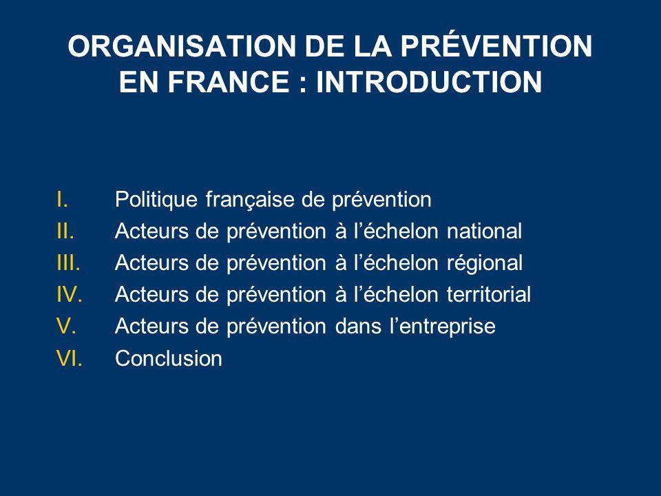 ORGANISATION DE LA PRÉVENTION EN FRANCE : INTRODUCTION I.Politique française de prévention II.Acteurs de prévention à léchelon national III.Acteurs de