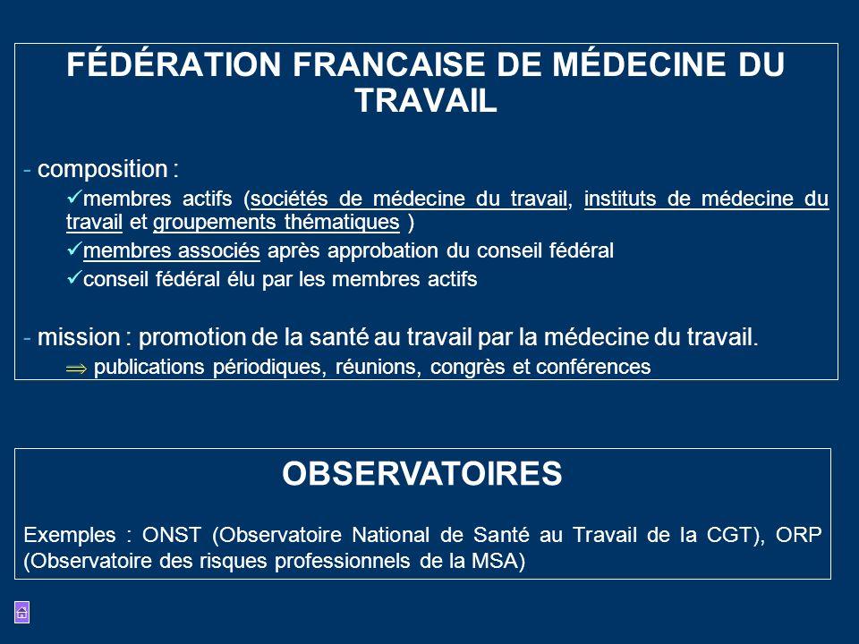 FÉDÉRATION FRANCAISE DE MÉDECINE DU TRAVAIL - composition : membres actifs (sociétés de médecine du travail, instituts de médecine du travail et group